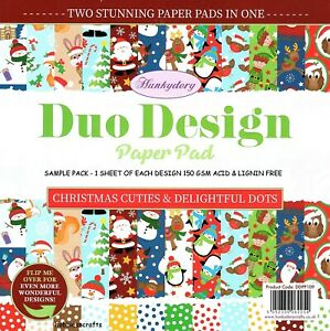 CHRISTMAS CUTIES Hunkydory Duo Design 8x8 Sample Paper Pack Double sided sheets