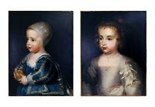 King Charles I children Prince James & Mary Princess Royal after Van Dyck 1800