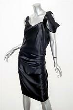 VIVIENNE WESTWOOD Womens Black Silk Satin Sleeveless Draped Cocktail Dress S/M