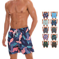 Mens Swimwear Surf Trunks Bathing Suit Quick Dry Mesh Lining Pockets Floral Cool