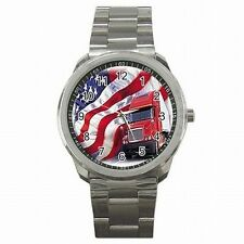Truck Driver American Trucker USA Flag Stainless Steel Sports Watch New!