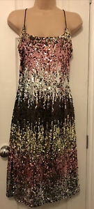bnwt BLUE VANILLA DRESS UK 8 SPARKLY GOLD PINK STRAPPY ALL OVER SEQUINS FITTED