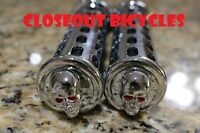 Custom Cruiser Bicycle Handlebar Grips Black/Chrome Skull Low Rider