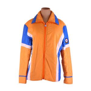 Moncler Coats Jackets Logo Orange Blue Woman Authentic Used F1311