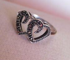 MARCASITE  925 Sterling Silver DOUBLE OPEN HEART RING ~ Size 6 ~ Thailand