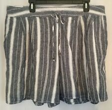 New Womens Plus Size 2X 20W 22W Blue White Striped Cool Linen Shorts Pockets