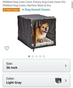 "MidWest Dog Crate Privacy Cover Fits Dog Crates 36L x 23W x 25H"" Gray"