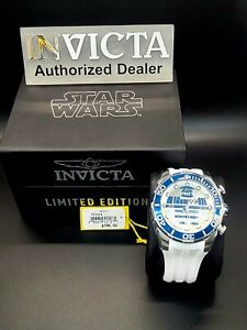Invicta Men's 35084 Star Wars R2-D2 Limited Edition Silver Tone/White Band Watch