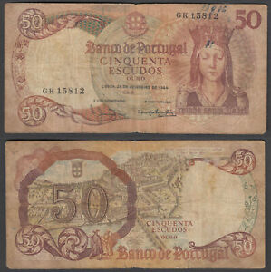 Portugal 50 Escudos 1964 (VG-F) Condition Banknote P-168