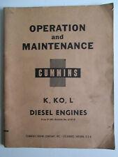 CUMMINS K, KO, L Diesel Engines 1954 Operation and Maintenance Manual