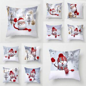 "18"" Christmas Cushion Covers Snowman Pillow Case Sofa Throw Xmas Home Decoration"