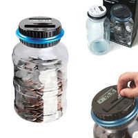 Electronic LCD Counting Coin Saving Pot Money Boxes Showing Jar Piggy Bank