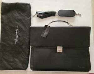Thierry Mugler Designer Triple Gusset Leather Look Brief Case NEW with Dustbag
