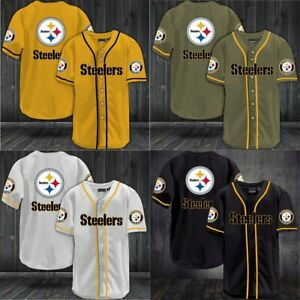 Pittsburgh Steelers Mens Baseball Shirts Loose Short Slevees Workout Tee Tops