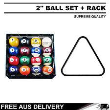2'' Pool Balls Set + Plastic Triangle Rack for Billiards Free AU Postage