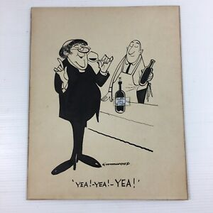 Emmwood John Musgrave-Wood Original Cartoon Wine Tasting 1960's Yea! Yea! Yea!