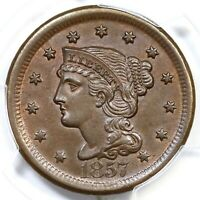 1857 N-1 PCGS MS 63 BN CAC Braided Hair Large Cent Coin 1c