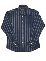 Ben Sherman Italian Cloth Men's Cuff Long Sleeve Strip Blue Shirt Size M