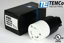 TEMCO NEMA L6-30C Female Plug 30A 250V Locking UL Listed for Generator RV Welder