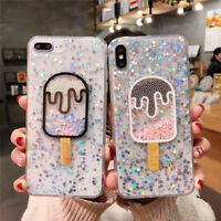 Cute Dynamic ice cream Glitter soft case Cover for iPhone X XS Max XR 8 7 6 Plus