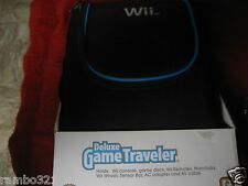 OFFICIAL NINTENDO WII DELUXE GAME TRAVELER BAG CARRIER CASE PACK BLACK BLUE NEW