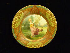 BEAUTIFUL & RARE TIN ADVERTISING PORTRAIT PLATE BOY & GIRL PLAYING – CIRCA 1910