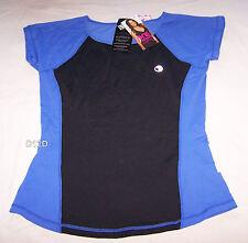 One Active By Michelle Bridges Ladies Black Blue Spliced T Shirt Size 10 New