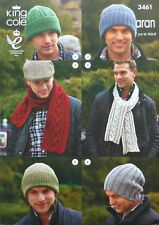 KNITTING PATTERN Mens/Women/Children Assorted Hats & Scarves Aran King Cole 3461