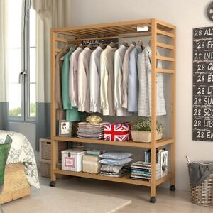Wooden Clothes Rail Scarf Cap Hanging Garment Coat Rack Heavy Duty Rolling Stand