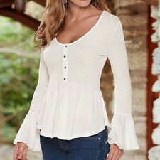 Sexy's Autumn 2017 Women's Casual Long Flare Sleeve V-neck T-shirt Tops&Blouses