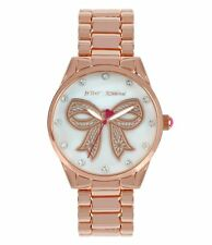 NWT BETSEY JOHNSON ANALOG WATCH Women's Mother-of-Pearl & Crystal Bow