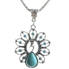Women Peacock Tibetan Silver Turquoise Bib Crystal Pendant Long Chain Necklace