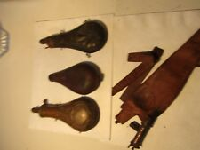 2 Brass Black Powder Flasks and 1 Leather Shot Pouch & 1 leather flask Civil War