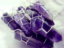 Amethyst Silver Wire Wrap Pendant LOT of 10 Wrapped Natural Crystal Point Neckla