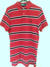 Men's Ralph Lauren Custom Fit Polo Shirt Red, Navy & White Size S RRP $175