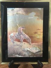 """End of the Trail Native American Indian on Horse 8 X 10"""" Framed Foil Art"""
