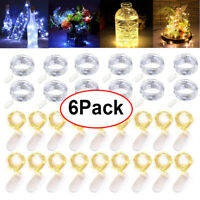 6Pack Xmas Decor Battery Operated Mini LED Copper Wire String Fairy Lights 20LED