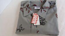 Marvel Avengers Unite Gray Button Down Short Sleeve Shirt SMALL NEW