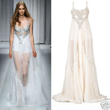 NEW VERSACE METAL EMBELLISHED WHITE SILK GOWN DRESS 38
