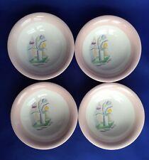 4 Homer Laughlin Swing Eggshell Berry Bowls Cubist Tulip In Vase Swedish Modern