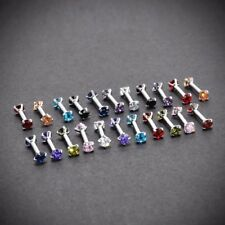 16g 6mm Bar 3mm CZ Double Gem Helix Tragus Ear Stud Earring Internally Threaded