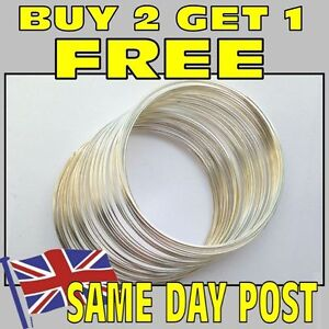 Memory wire 60 coils (buy 2 get 1 free) silver plated for bangle bracelet loops