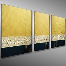 GOLD DESIGN KUNST MALEREI 180x50 3D ABSTRAKTE Original HANDGEMALT Gemälde MICO
