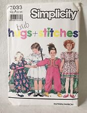 Simplicity 7033 Sewing Pattern Hugs and Stitches UNCUT Size A (2-6X)