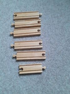 Wooden straight pieces of track compatible with Brio Bigjigs and Thomas