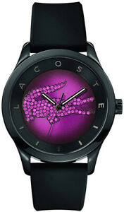 Lacoste 2000917 Victoria Black Silicone Strap Purple Dial with crystals Watch