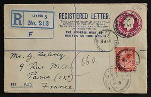 Leyton UK 1926 Registered PSE 4½d + 1d to Paris France