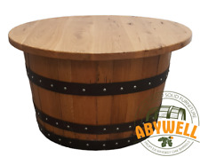 Whiskey Barrel COFFEE TABLE | Oak-Wood Table Top | Handmade Whiskey Barrel