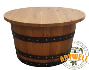 Recycled Whisky Barrel OAK COFFEE TABLE   Oak-Wood Table Top   Handmade