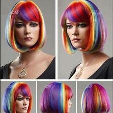 New Hot sales short BOB Multicolor Rainbow Cosplay Wigs + WIG CAP